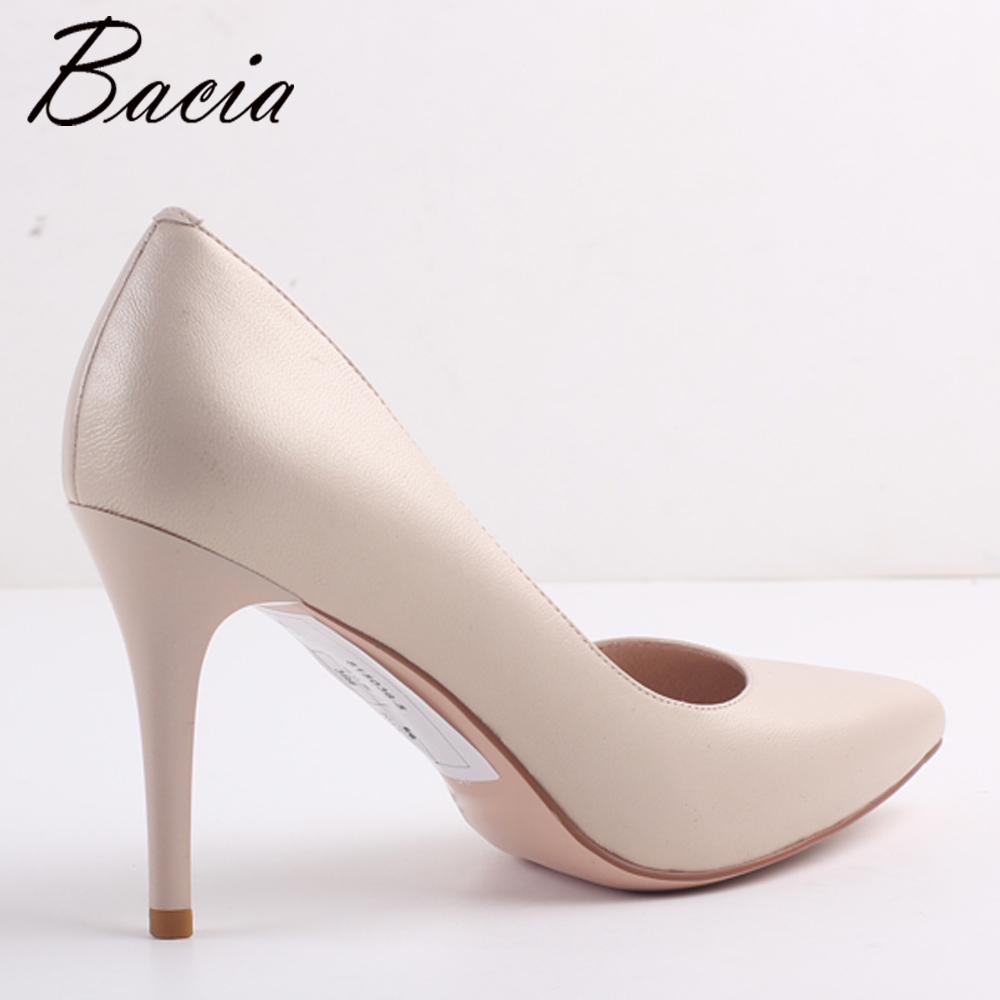 Bacia New 9cm High Heel Sheepskin Pink Nude Party Shoes Wedding Pumps  Pointed Toe Sexy Womenu0027s Pumps Ladies Fashion Heels MC032 In Womenu0027s Pumps  From Shoes ...