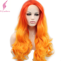 Yiyaobess High Temperature Fiber Red Orange Ombre Lace Front Wig Synthetic Two Tone Long Wavy Wigs For Cosplay Costume Party