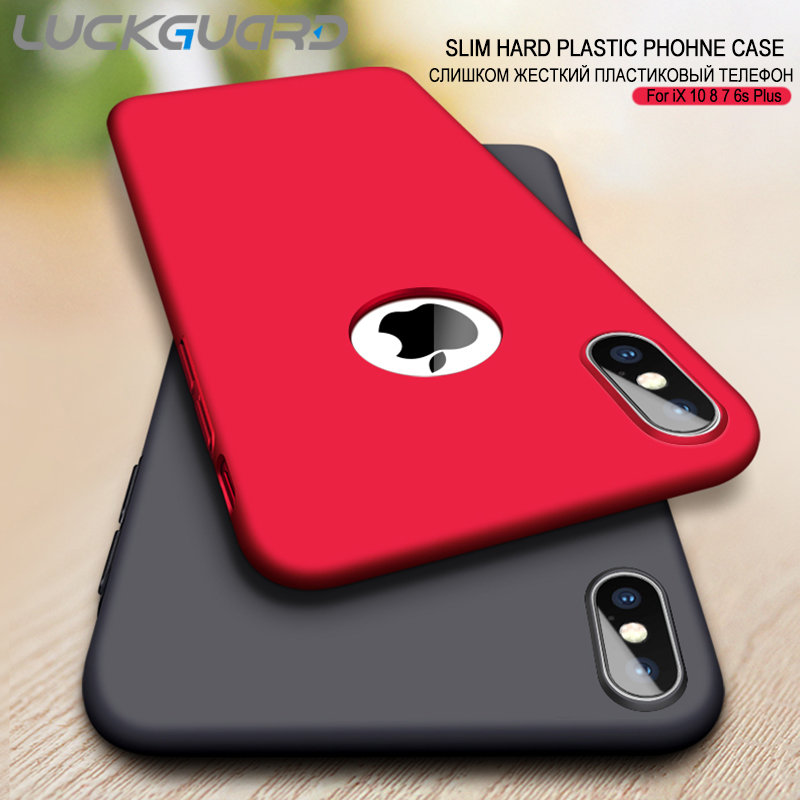 LuckGuard Hard Matte Phone <font><b>Case</b></font> For <font><b>iPhone</b></font> XS MAX XR Luxury Slim <font><b>Cases</b></font> For <font><b>iPhone</b></font> 5 SE 6 <font><b>6s</b></font> 7 8 <font><b>Plus</b></font> X Logo Cover Accessories image