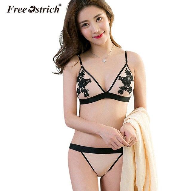 97e154a98a Libre de avestruz mujeres Sexy encaje Bralette ropa interior transparente  sujetador Invisible bordado de flores Lencería