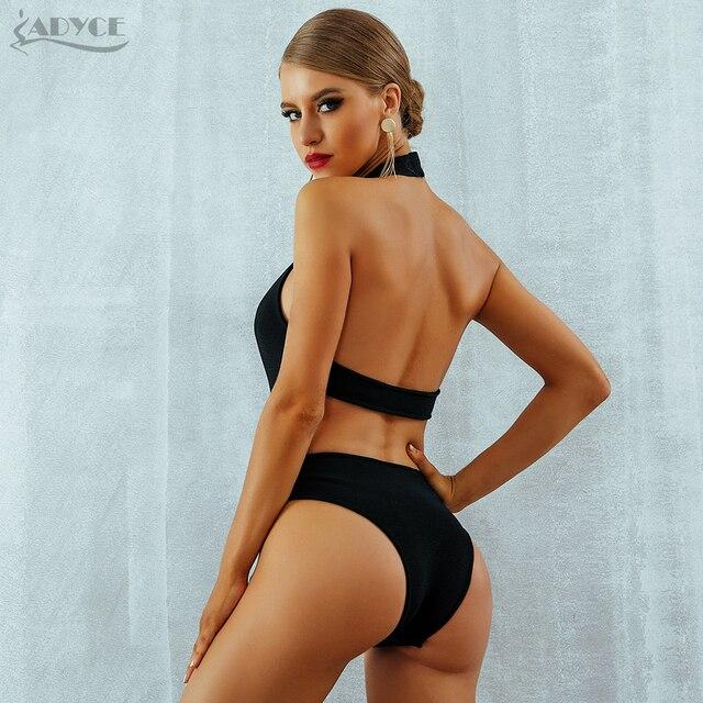 Bandage Bodysuits Celebrity Black Diamond Beading Sexy Backless Halter Hollow Out Swimsuits Bodycon Bikini 4