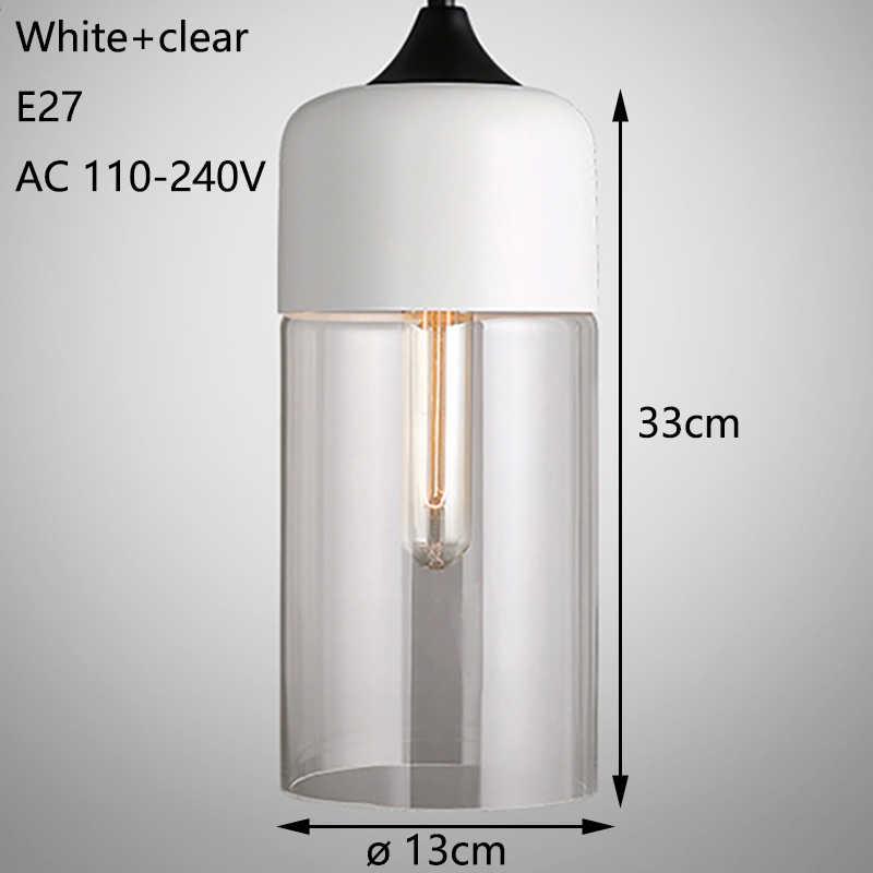 북유럽 현대 로프트 교수형 유리 펜 던 트 램프 비품 E27 E26 LED 펜 던 트 조명 부엌 레스토랑 바 거실 침실