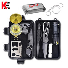 Emergency Survival Gear Multi Tool Survival Kit Waterproof First Aid Kit Outdoor Camping Hike SOS Whistle Flashlight Knife