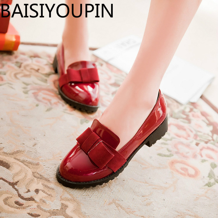 2018 Sweet Bow Low Heel 33 Small Size Womens Single Shoes for Woman Big Size 40 - 43 Student Shoes Causal Patent Leather Shoes
