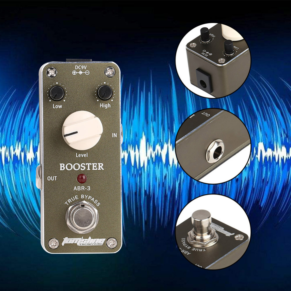 Guitar Part Tomsline ABR-3 Mini Booster Electric Guitar Effect Pedal With Fastener Tape Aluminum Alloy Housing True Bypass new arrival guitar effects booster guitar effect pedal aluminum alloy housing ture bypass aroma abr 1