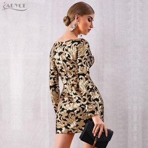 Image 5 - Adyce 2020 nowa jesienna kobiety złote suknie wieczorowe w stylu gwiazd elegancka seksowna z długim rękawem cekinami głębokie V Mini sukienka klubowa Vestidos