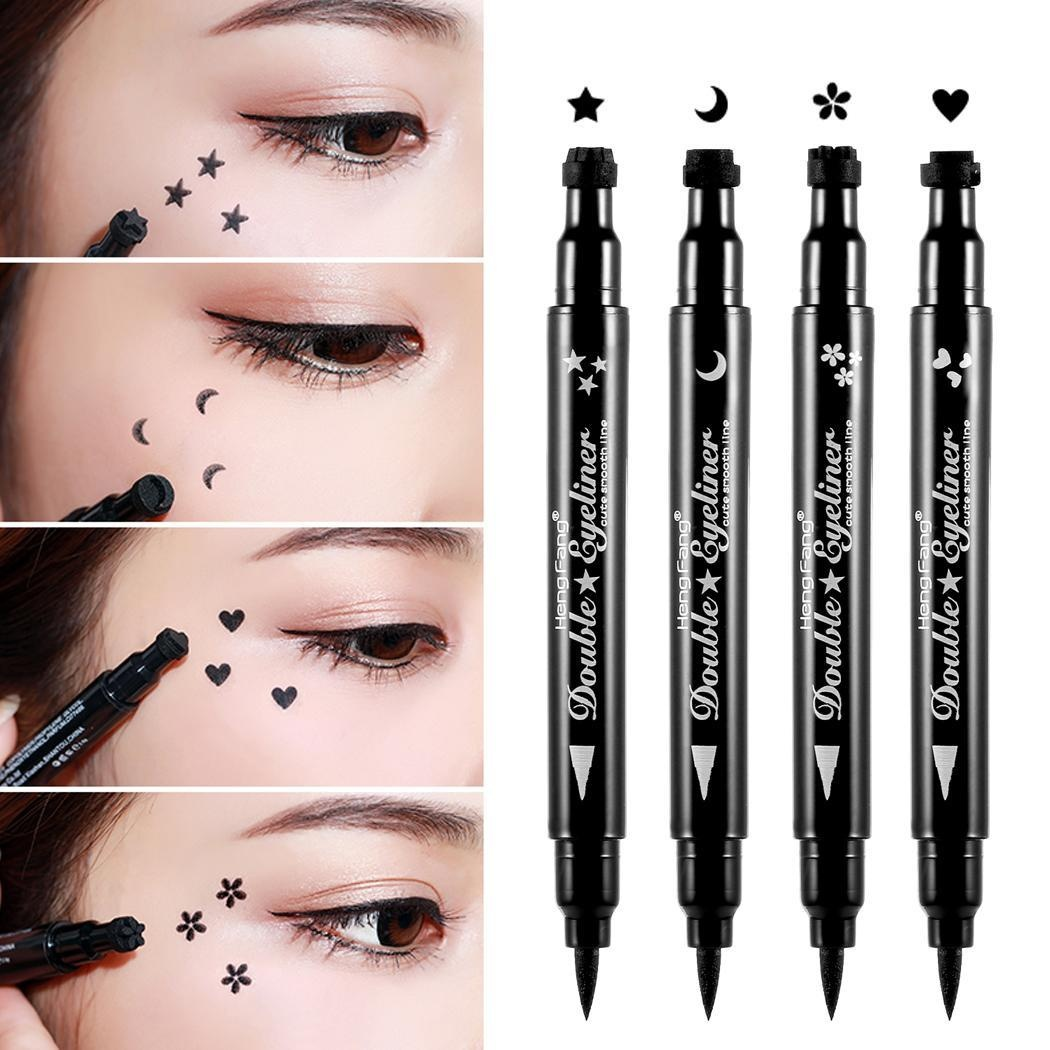 Eyeliner Kind-Hearted 1pc Waterproof Double Head Waterproof Liquid Stamp Eyeliner Pen Tattoo Stamping Eye Liner Pencil Makeup Tools Heart/star/moon Beauty Essentials