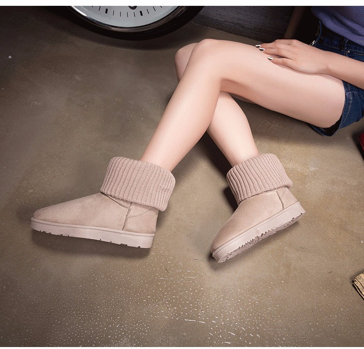 KUYUPP Patchwork Knitting Wool Women Snow Boots Winter Shoes 2016 Flat Heels Warm Plush Ankle Boots Slip On Womens Booties DX119 (21)