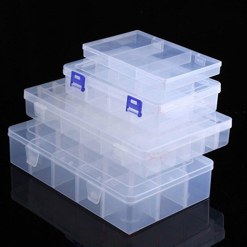 ปรับโปร่งใสพลาสติกกล่องสำหรับ Terminal ชิ้นส่วนขนาดเล็กเครื่องประดับกล่องเครื่องมือลูกปัดเม็...