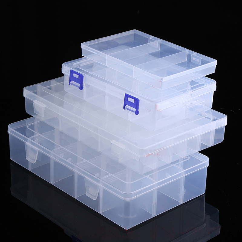 Adjustable Transparent Plastic Storage Box for Terminal Small Component Jewelry Tool Box Bead Pills Organizer Nail Art Tip Case salmon