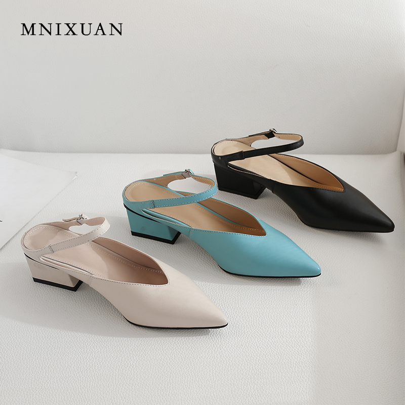 MNIXUAN Fashion women pumps shoes height 4cm medium heels mules shoes 2019 new pointed toe leather