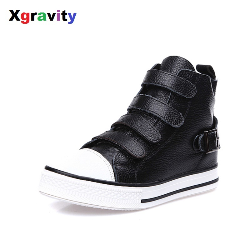 Drop Shipping 2018 Korean Autumn Cow Genuine Leather Fashion Woman Casual Sneakers Hook Loop Comfort Female