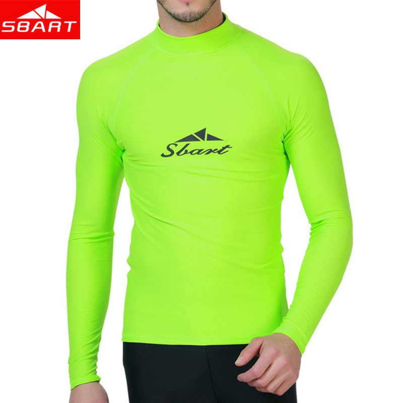 SBART Lycra Surf Rashguard Men Top Sharkskin Waterproof Long Sleeve Swimsuit Sunscreen Rash Guard Swim Surf Shirt Rushguard цена