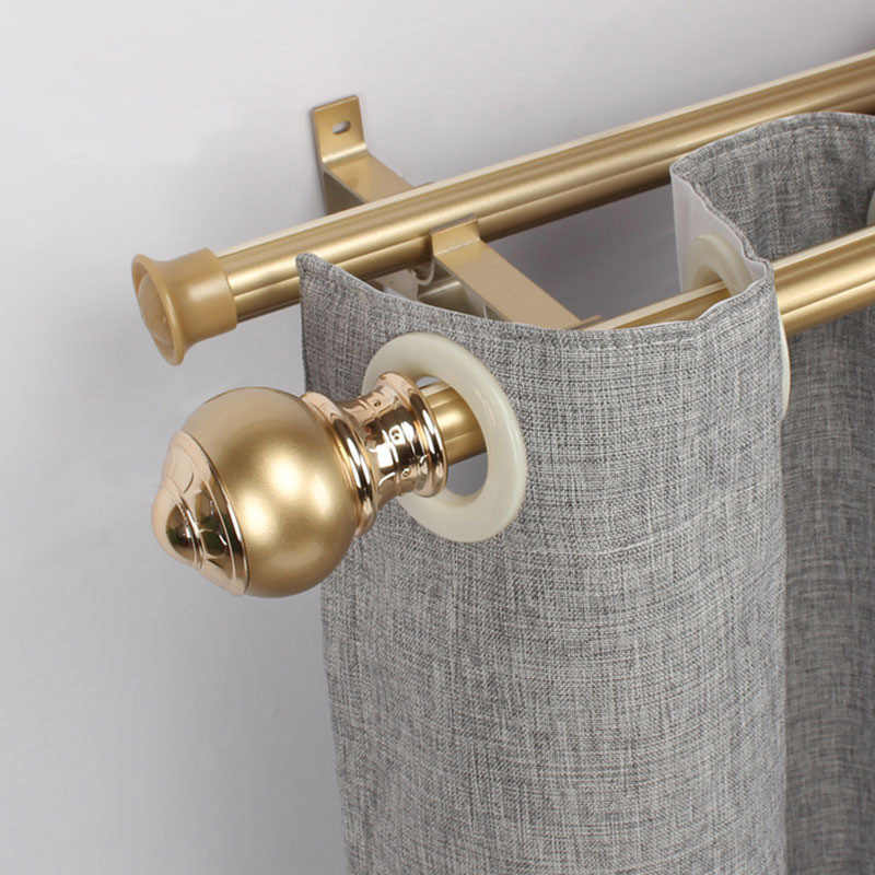 Curtain rod simple thick European-style Roman rod single pole double pole mute curtain track hook punch rod