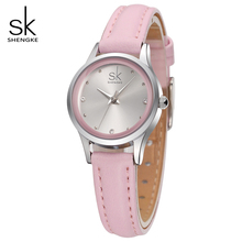 SK Nuevo Diseño Señoras de La Manera Relojes Elegantes Rhinestone Femenino de Cuarzo Reloj de Las Mujeres Correa de Cuero Fino Impermeable Montre Femme 008