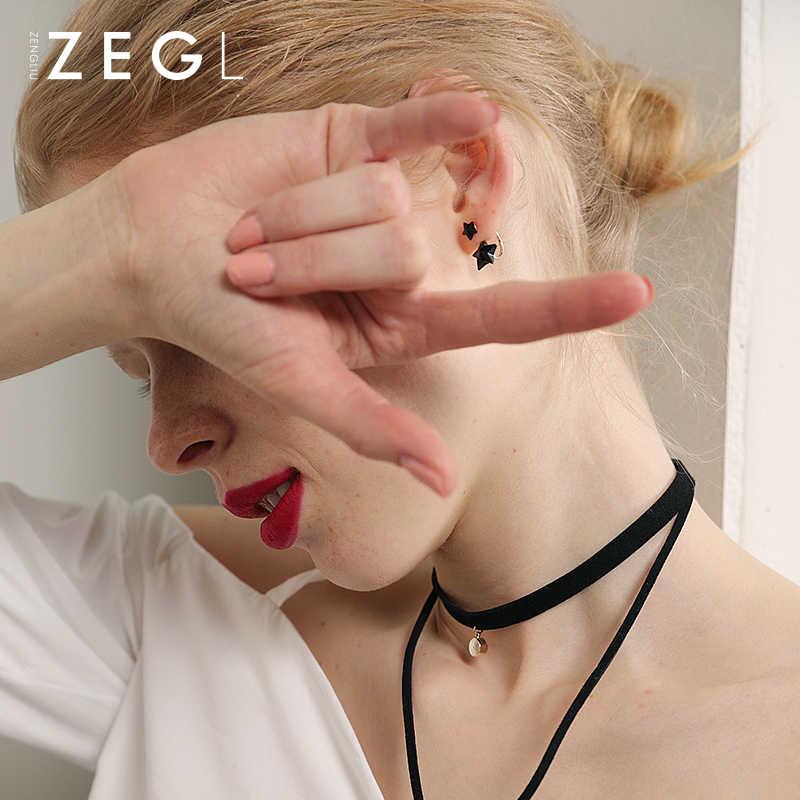 ZEGL темперамент черный пятиугольная звезда серьги-гвоздики для девочек личности сладкий уха ювелирные изделия