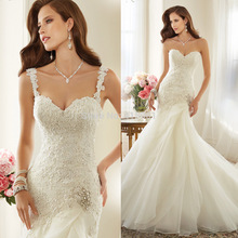 Vestido de Noiva 2015 New Arrival Ivory Lace Bridal Dress Mermaid Wedding Gowns Detachable Spaghetti Straps Custom Made W3556