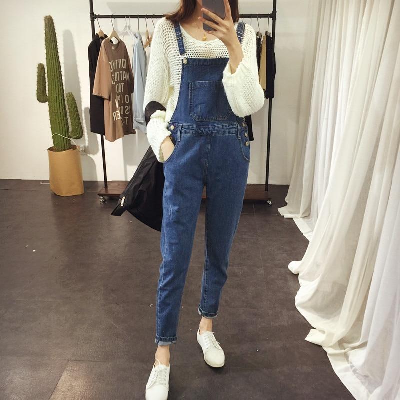 2017 denim bib pants female bf loose plus size denim trousers female jumpsuit Cheap wholesale