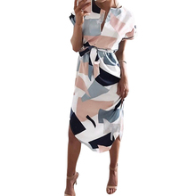 Women Printed  Vestidos Sexy V-Neck Cinch Waist Slim Work Dress Casual Office Business Dresses