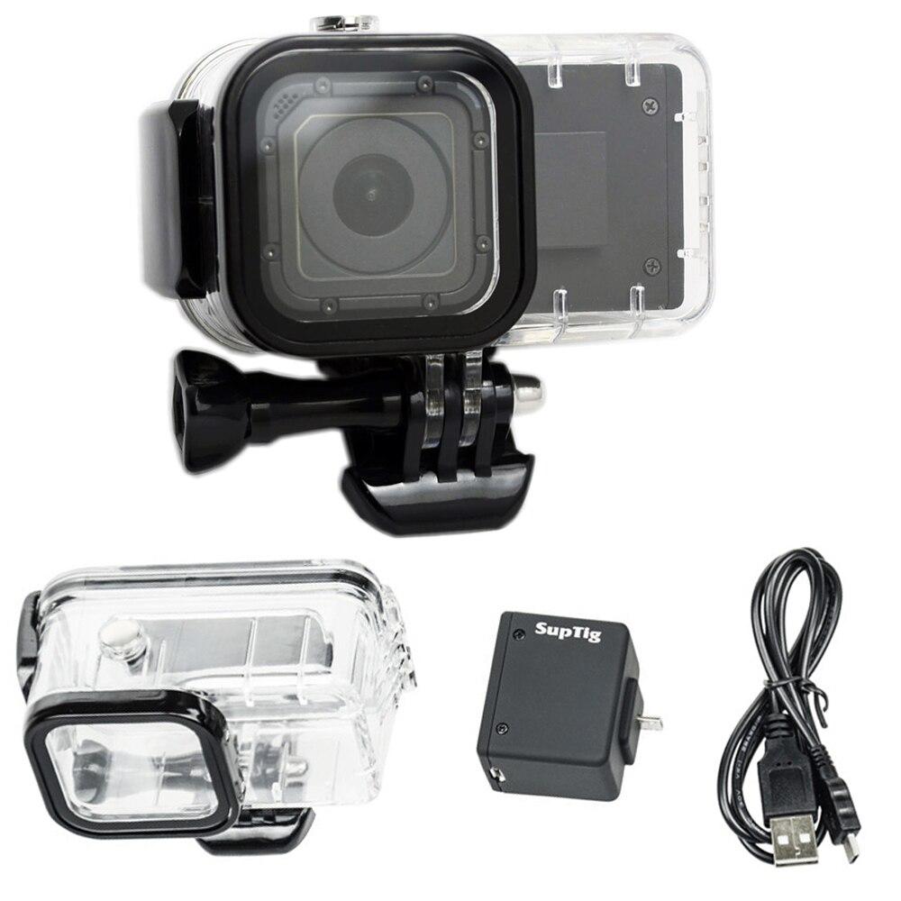 Pour GoPro 4 Session Étendre Batterie 1050 mah Batterie De Secours + Hero 4 Session boîtier Étanche Case Box Pour GoPro 4S Bacpac batterie
