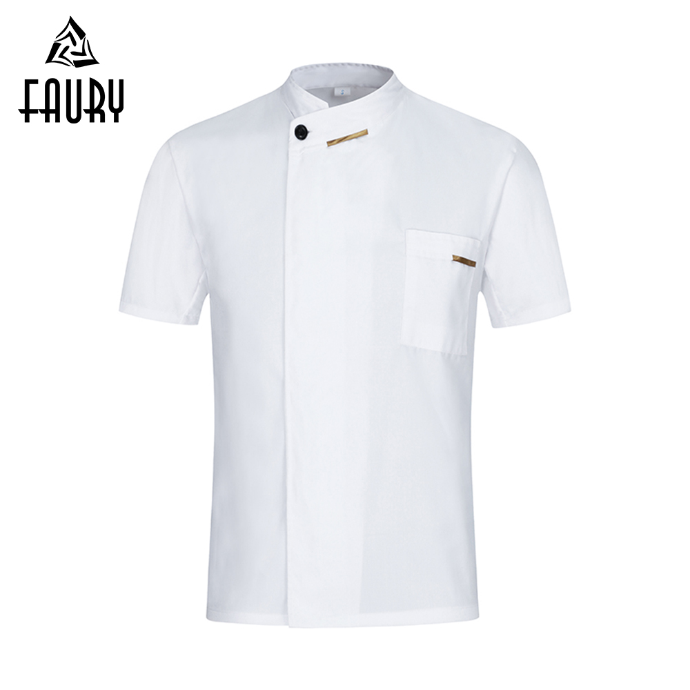 Chef Jacket Short Sleeve Food Service Cooking Uniform Restaurant Kitchen Hotel Barbershop Sushi Costume Cafe Bakery Work Clothes(China)