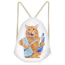 ThiKin Funny Brushing/Sushi Cat/Kitten Print Woman Children Drawstrings Bags Casual Large Storage Backpacks Kids Bookbags