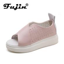 Фуцзинь бренд высокое качество Лето 2017 г. спилок женские босоножки розовые белые туфли без шнуровки для Женская обувь для девочек