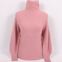 100%goat cashmere thick knit women fashion pullover sweater semi high collar puff sleeve irregular hem S 5XL 6colors