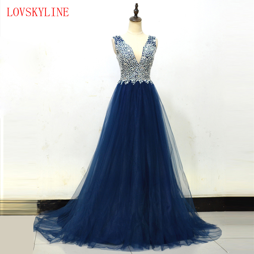 Evening     Dresses   2018 Plus Size Tulle Beading Sequined Long Formal   Dresses   V Neck Lace Up Sleeveless Backless Robe De Soiree