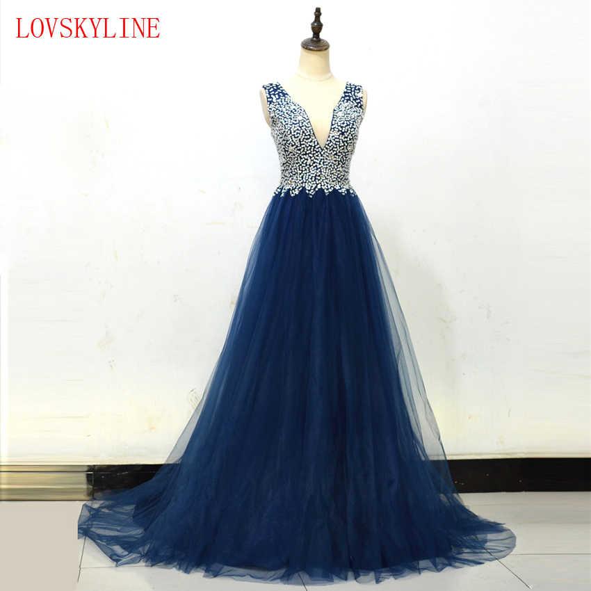 86ea63534d7 Вечерние платья 2018 плюс размеры Тюль бисер блестками Длинные вечерние V  образным вырезом кружево до рукавов