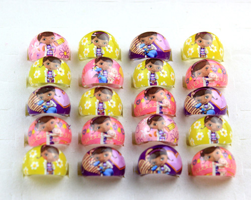 50Pcs Wholesale Mixed Lots Lovely Cartoon Negro Doctors Children/Kids Resin Lucite Rings Birthday Gift Jewelry Shop