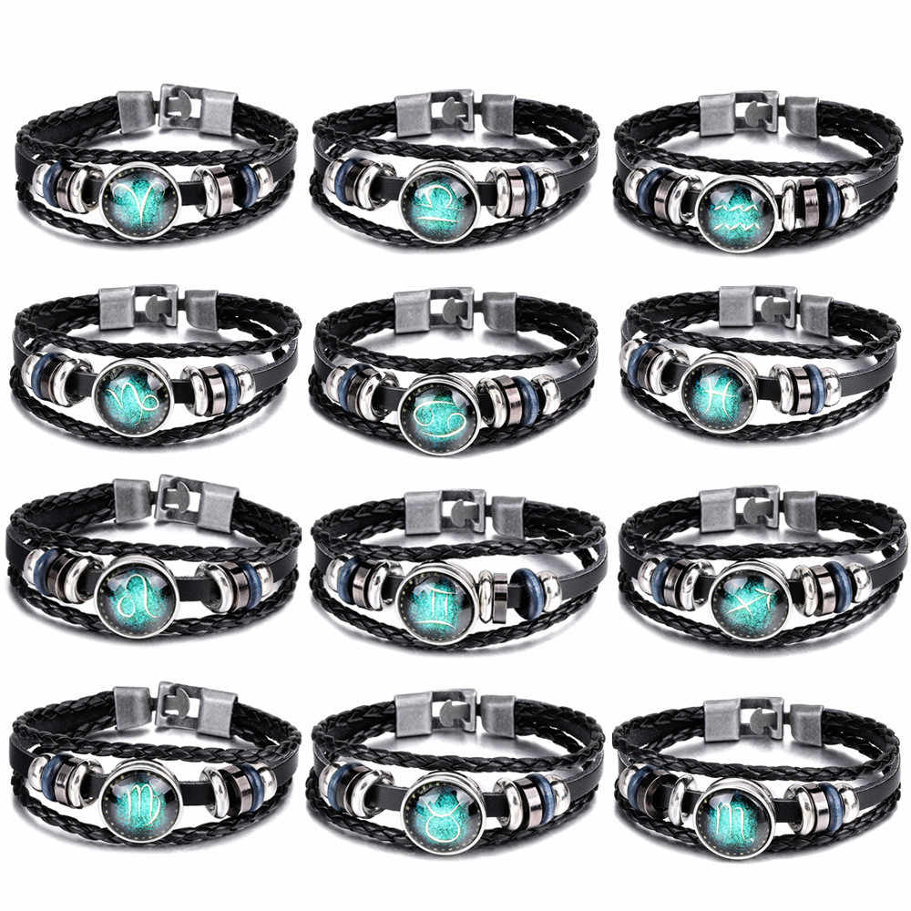 2019 12 Constellation Luminous Bracelet Men Leather Bracelet Charm Bracelets Aries Pisces Aquarius Leo Libra Gemini jewelry gift