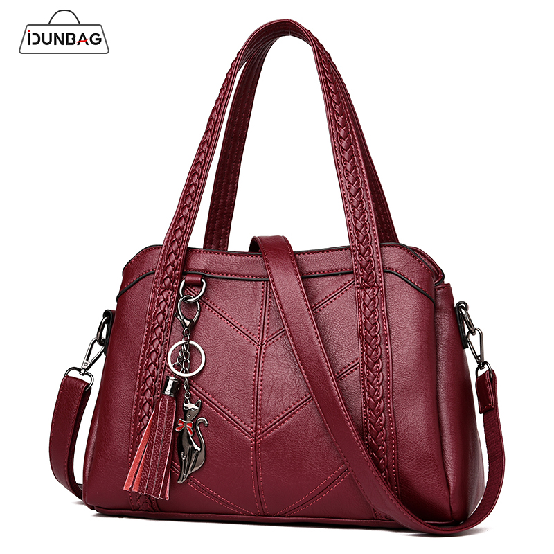 Knitting Tassel Women Bag Retro Pu leather Handbags Female Ladies Shoulder Bags Large Capacity Tote Bolsos Mujer De Marca Famosa retro tiny bell tassel anklet for women