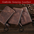 NEWEEKEND 1053-1 Genuine Leather Slim Coin Purse Women Coffee Coin Purse Mens Zipper Around Wallet Card Holder