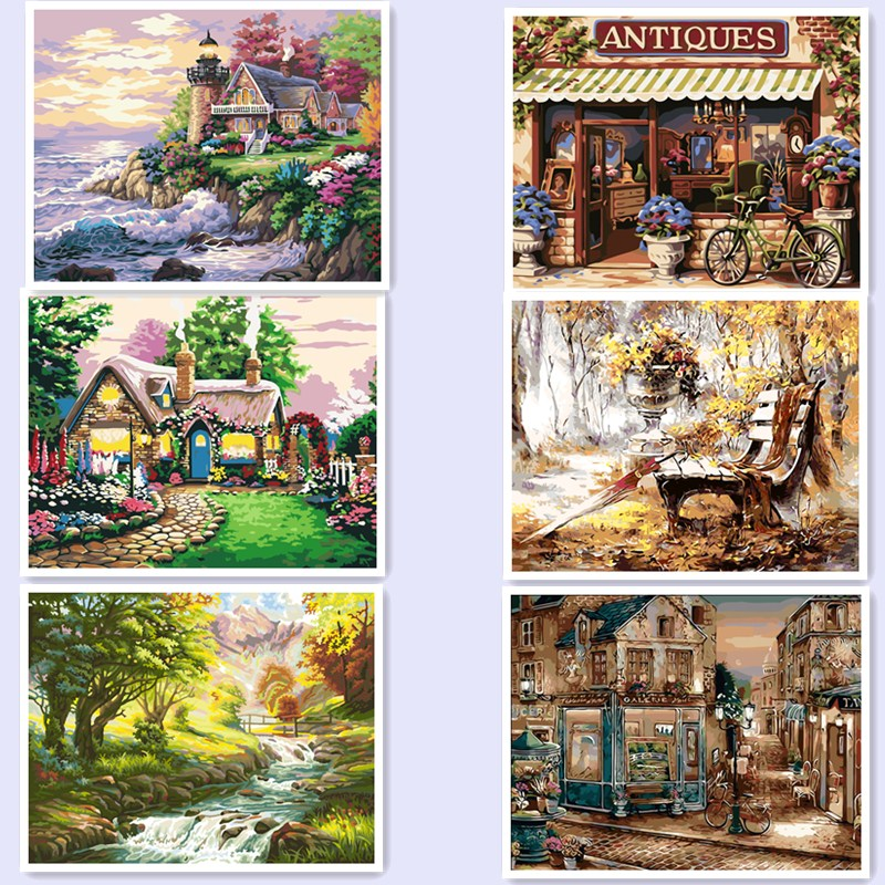 US $7 34 32% OFF|New Style 40*50CM DIY cuadros coloring Oil Painting On  Canvas Pictures Painting By Numbers Home Decoration landscape bm02-in  Painting