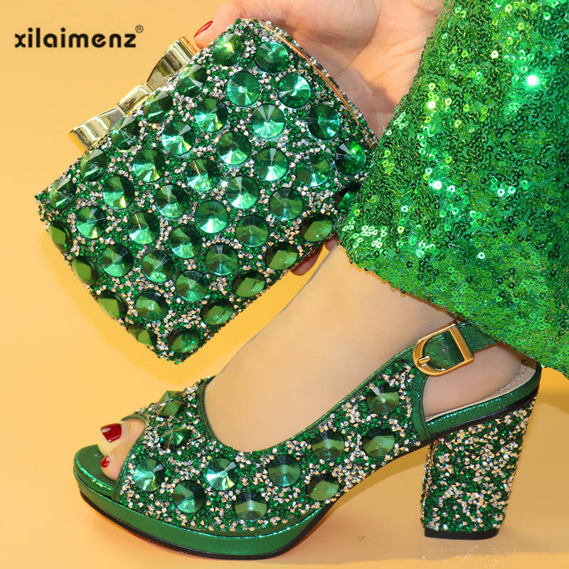 Summer New Coming Green Color Nigerian Shoes and Bags To Match Shoes with Bag Set Matching