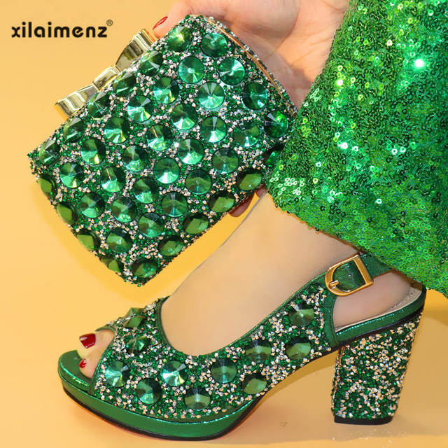 Summer New Coming Green Color Nigerian Shoes and Bags To Match Shoes with Bag Set  Matching Italian Shoe and Bag Set