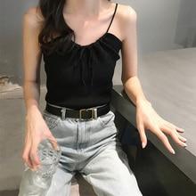 Women tank top Summer Sexy V Neck Drawstring Bow Sleeveless Slim Solid Color Camisole Knit Vest все цены