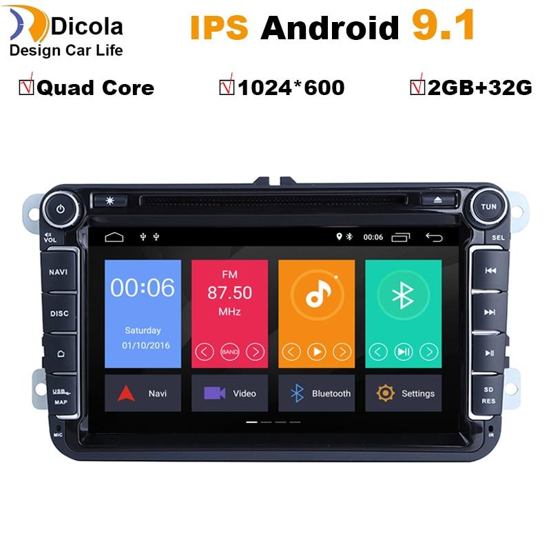 Car DVD Polo Gps-Radio Quad-Core Sharan Passat Android 9.1 Tiguan Jetta Ips 2din Touran