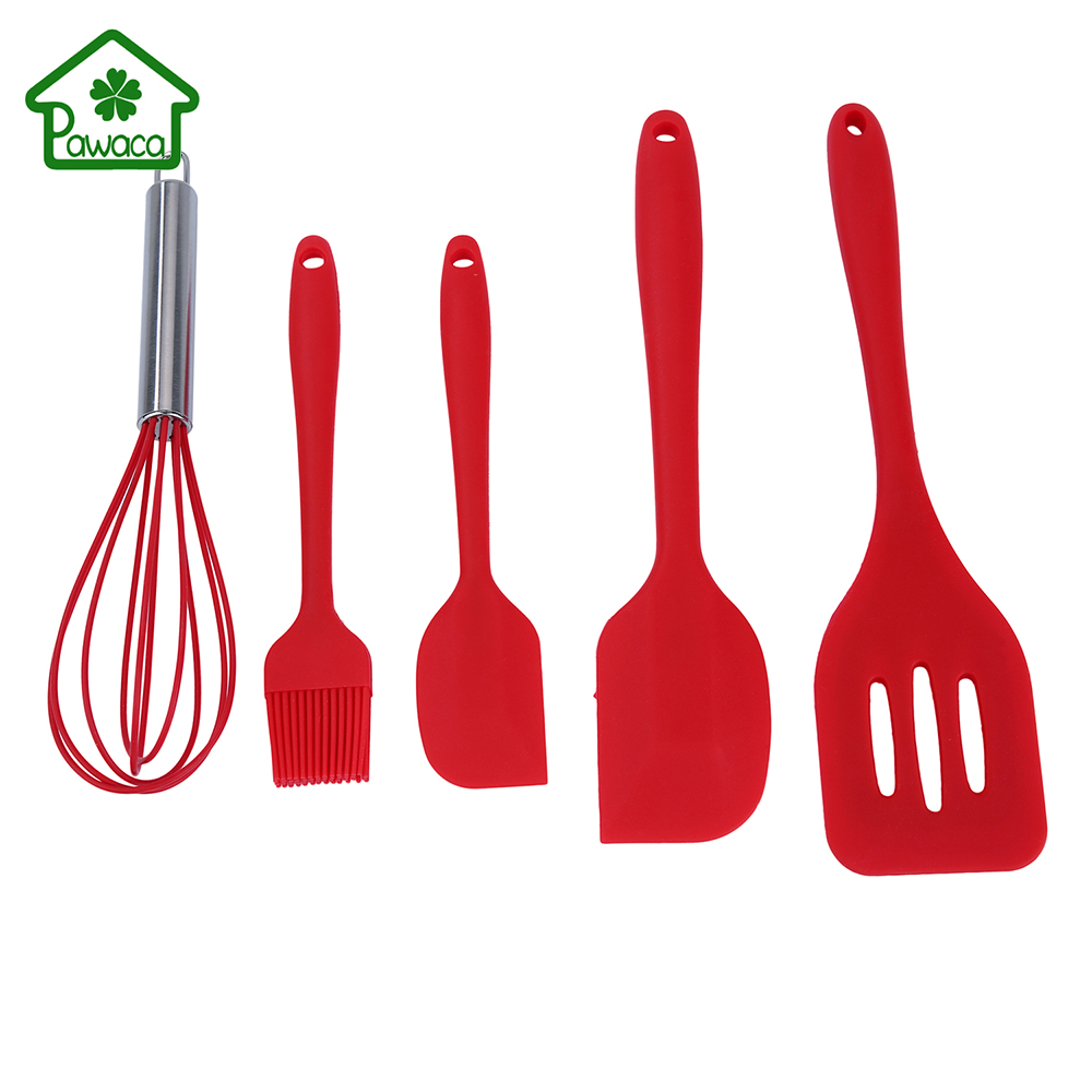 popular kitchen utensil setbuy cheap kitchen utensil set lots  - pcsset nonstick silicone red cooking tool sets spatula slotted turnerbasting spoon eggbeater kitchen