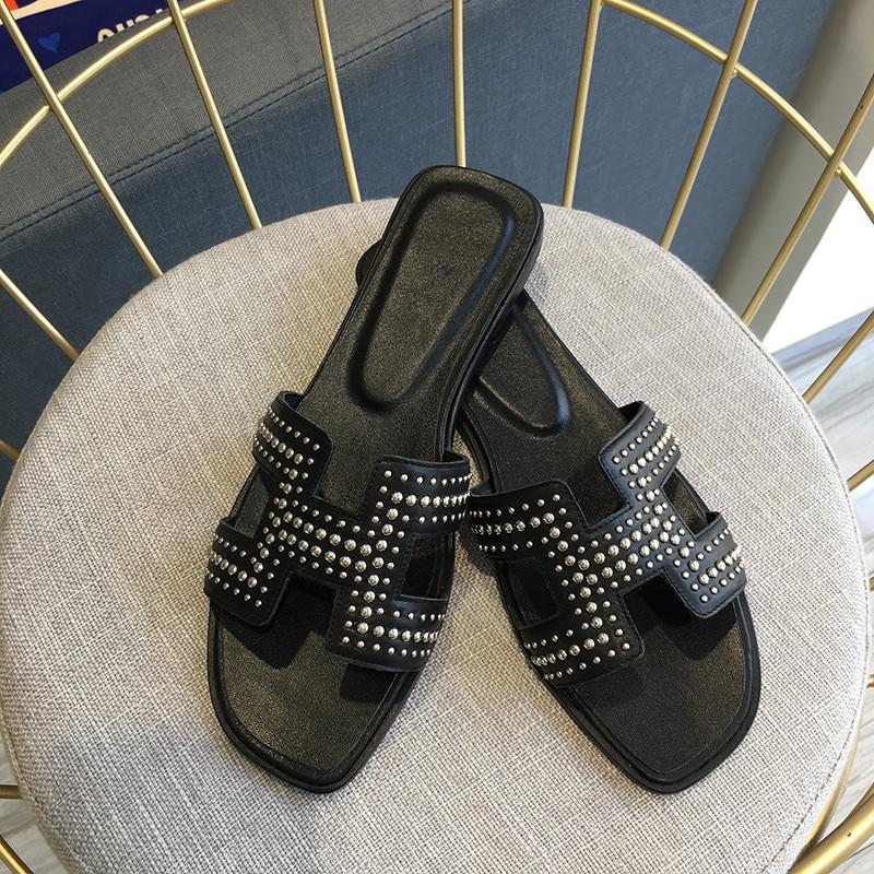 Mouton Chaussons De En À Véritable D'été Femme Rivet Diapositives Appartements Cuir L'extérieur Pantoufles Tongs Chaussures Plage Peau H vZz5wzq