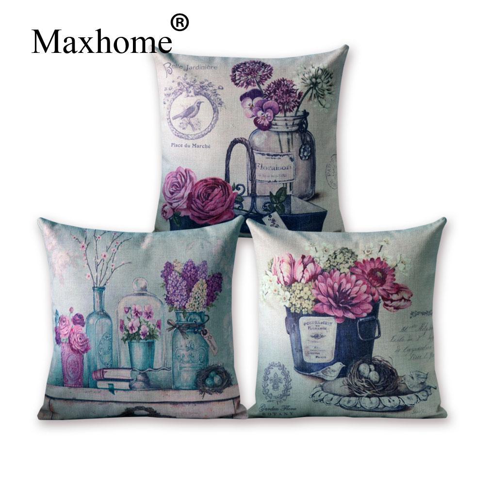 French Country Cotton Linen Pillowcase Simple European