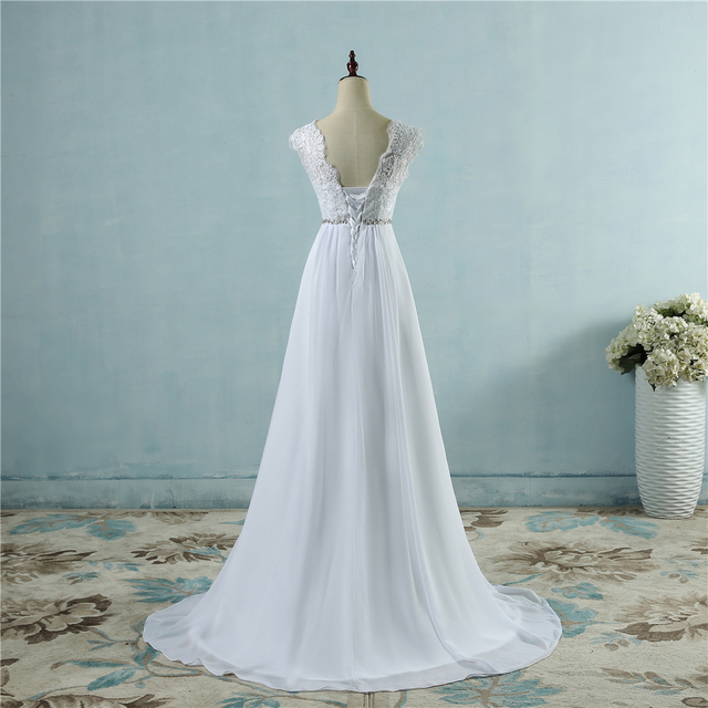 ZJ9058 Chiffon Beach crystal Wedding Dresses Vestidos de Novia Empire Beaded Bohemian Bridal Gowns with train size