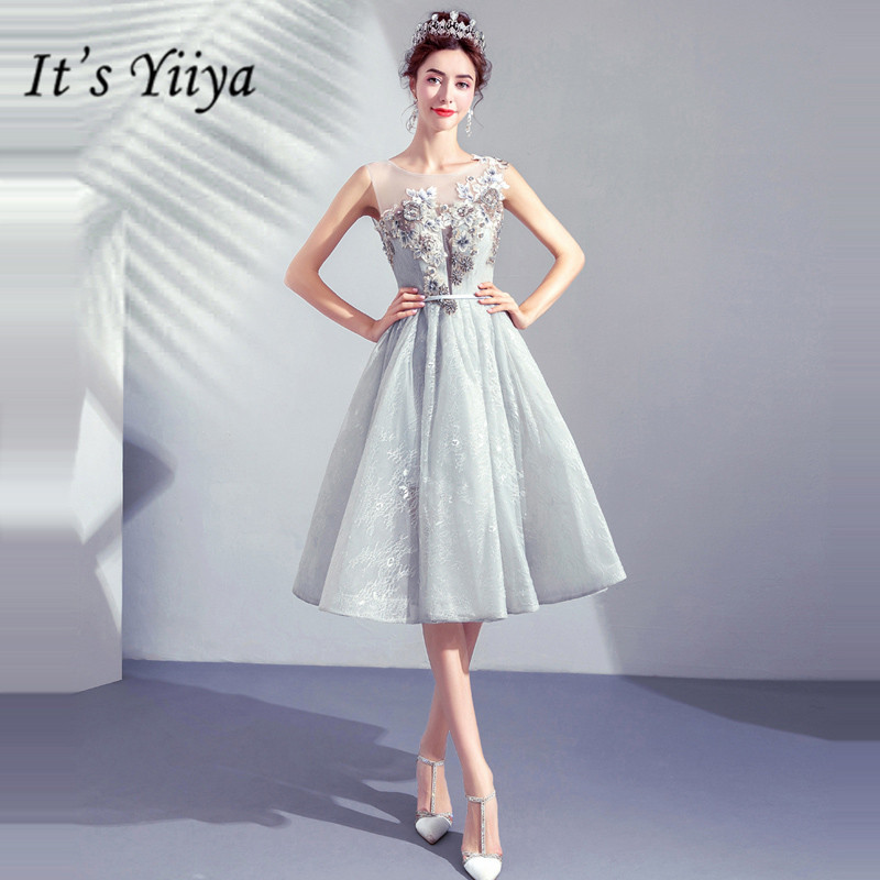 It's YiiYa Prom Gowns O-neck Sleeveless A-Line Knee-Length Beading Short Party Dress Custom Plus Size Prom Dresses 2019 E273