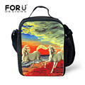 Fashion Office Ladies Lunch Food Bag School Children Lunchbox Keep Warm Crazy Horse Print Lunch Box for Kids Thermal Bag Lunch