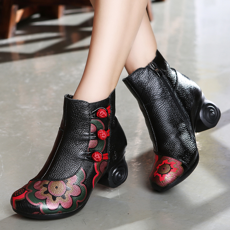 Retro Women Embroidery Ankle Boots Flower Buckle 6 CM High Heel Martin Boots Handmade Women Leather Boots Short Plush Insole a three dimensional embroidery of flowers trees and fruits chinese embroidery handmade art design book