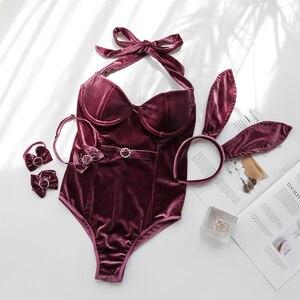 Image 1 - Neue Samt Kaninchen Mädchen Babydoll Rolle spielen Sexy Uniform Erotische Dessous Sexy Bunny Kostüme Cosplay Clubwear Party Tragen Bunny