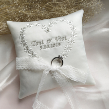 Customized wedding Ring Pillow Party Decoration Cushion Embroidered word Names and dates Pillows Valentine Day Festive Decor