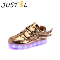 Spring Autumn Children S LED Shoes Boys Girls Wings Style USB Rechargeable Kids Glowing Fashion Sneakers