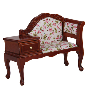 1/12 Wooden Dolls House Furniture Dollhouse Miniature Telephone Chair Seat